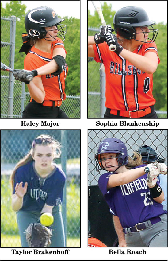 Two Litchfield players and two Hillsboro players joined 33 of their fellow players from the South Central Conference on this year's all-conference softball team.