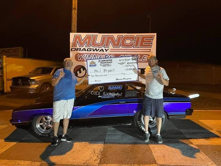 Phil Bryant (left) made it to the winner's circle at Muncie Dragway in Indiana on July 24, a week after his son Dustin (right) did the same at the Central Illinois Dragway in Havana on July 17.