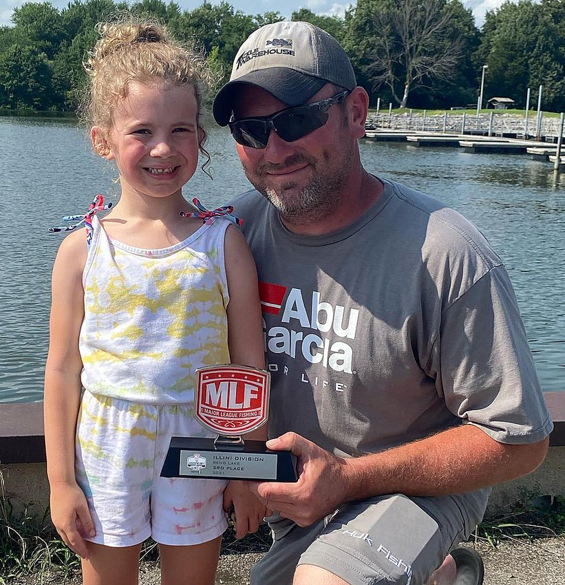 Dane Bondurant of Witt, pictured with daughter Mabry, took third in the Strike King Co-Angler group at the Phoenix Bass Fishing League Illini Division tournament on July 17, at Rend Lake.