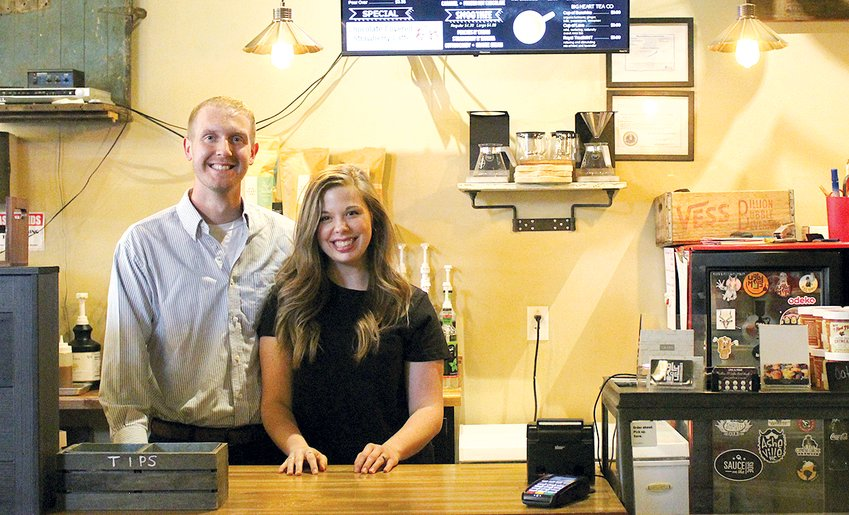 Kody and McKinsy Lietz (above) officially introduced themselves as the new owners of Ugly Mugs Coffee House in Nokomis on Monday, Aug. 2.