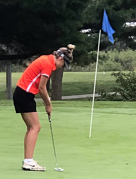 Hillsboro's Meagan Jorn lines up a putt during her round at the Rocket Invite in Springfield on Aug. 21. Jorn shot a team-best 93 on the day, just six strokes off a top 10 individual finish.