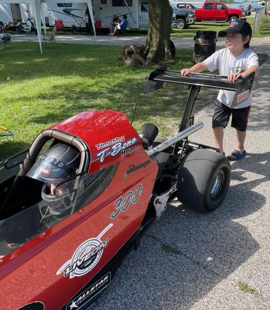 Litchfield's Timothy Hearn got some help from younger brother Brayden during his race at Central Illinois Dragway on Saturday, Aug. 14.