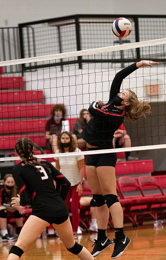 Nokomis senior Skylar Stewart goes up for a hit during the Redskins' season opener on Tuesday, Aug. 24. Stewart and company would win the first game 25-21, but Central A&M rallied to take the next two, 25-21, 25-13.