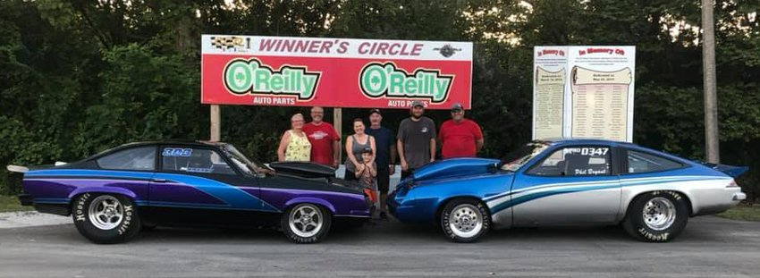 It was a productive week in Charleston for the Bryant family as Phil Bryant won twice and made it to four finals, including one against his son Dustin, who took the top spot in the low roller race over his dad. Pictured in the winner's circle, from the left, are Sharon and Phil Bryant, Roger and Pam Burdell with grandson Bayler, Dustin Bryant and Corey Wood.