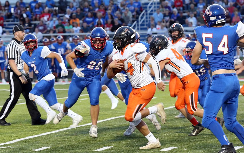 Blaze Helton (#44) led Hillsboro in rushing with 119 yards on 19 carries and scored the Toppers' only touchdown in their 42-8 loss to Carlinville on Friday, Sept. 10.