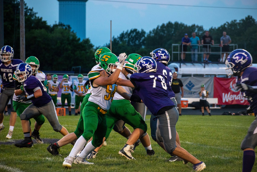 The Piasa Birds kept the Litchfield line, including Louis Vollentine (#78) and Luke Lankutis (#68) during Southwestern's 55-0 victory over the Purple Panthers on Friday, Sept. 10.