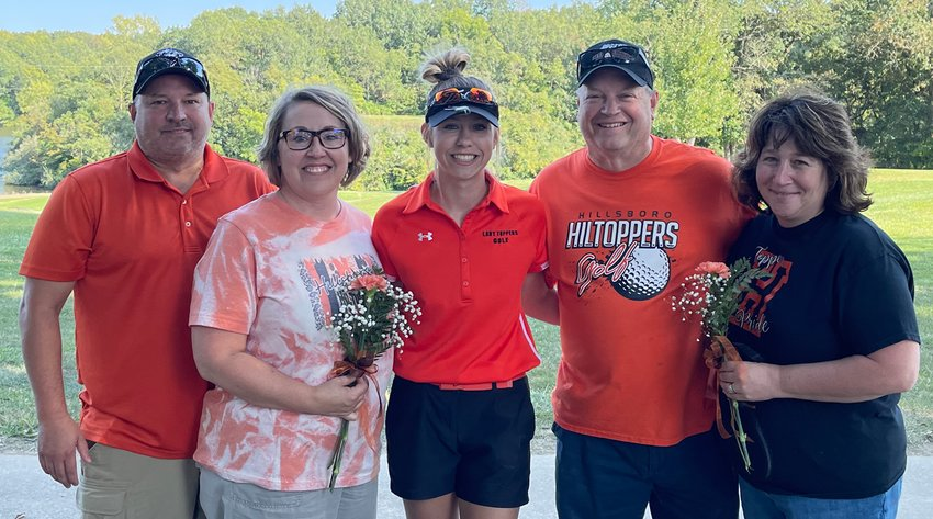 The Hillsboro girls golf program celebrated the contributions of lone senior Meagan Jorn before their match with Lincolnwood on Friday, Sept. 10, at the Hillsboro Country Club. Pictured with Jorn (center) are her parents, Troy and Paula Bartz (left) and Denny and Marcy Jorn (right).