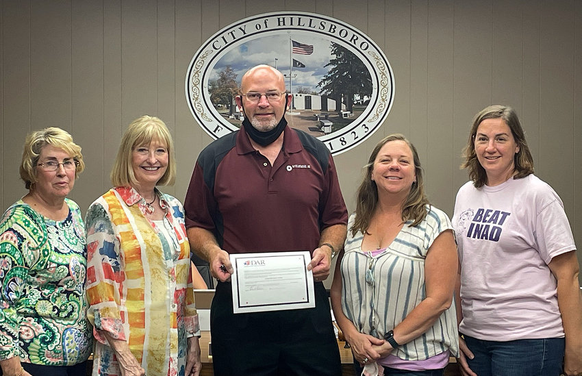 Mayor Don Downs signed a proclamation for the Christiana Tillson chapter of the Daughters of the American Revolution in honor of Constitution Week, Sept. 17-23. He is pictured above with local DAR members. From the left are Chris Garner, Regent Patty Whitworth, Mayor Don Downs, Kendra Wright and Mary Herschelman.