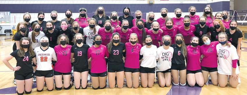 Members of the Litchfield and Lincolnwood volleyball teams traded in their usual uniforms for pink themed garb on Monday, Sept. 27, as the two Montgomery County schools joined forces to raise funds for the Montgomery County Breast Cancer Support Group. Admission to the game was by donation only, with proceeds from a 50/50 raffle, silent auction and bake sale also going to the efforts of the group.