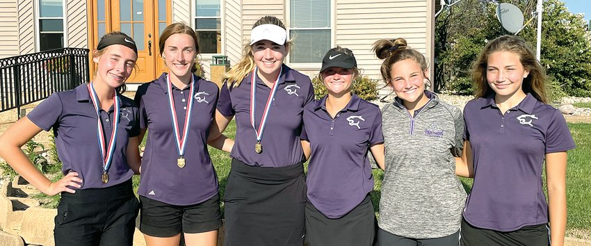 For the third time in a row, the Litchfield High School girls golf team won the South Central Conference Tournament, shooting a 372 to beat second place Staunton by 36-strokes. From the left are Hailey Rentz, Carly Guinn, Laura Boston, Lauren Monke, Olivia Fleming and Charlotte Gardner. Rentz, Guinn and Boston all made all-conference by finishing in the top 10, with Boston earning her third straight SCC championship with a 76.