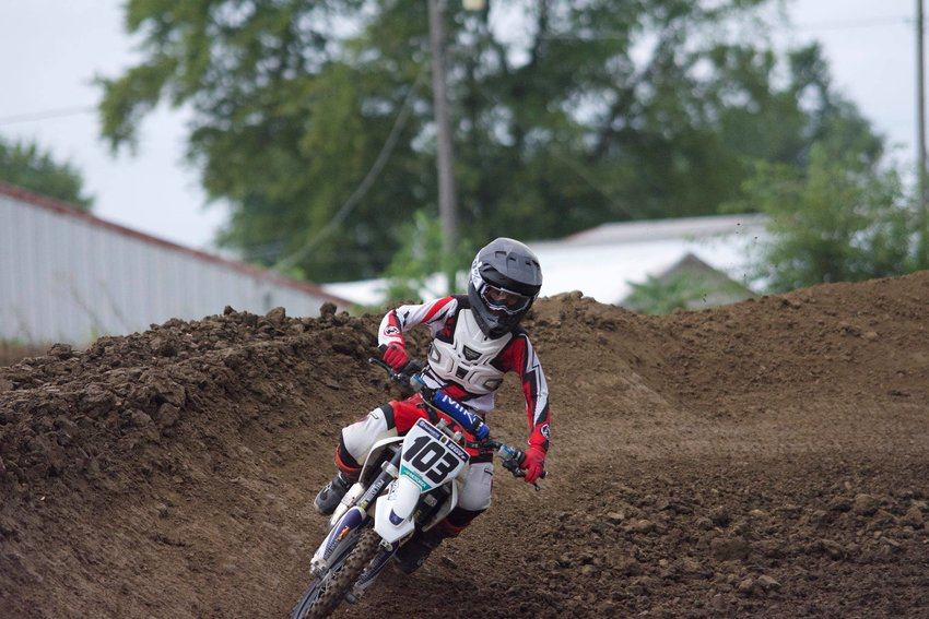 Donnellson's Cooper Duff, pictured here at Megacross in Mendota, picked up a pair of wins in the Fox Valley Off Road Series finale on Sept. 25-26, in Wedron. Duff took first in the 65cc Grand Prix, with his dad, Ryan, and brother, Zach, taking first and second respectively in their divisions on Sept. 25, then took first again in the 65cc Hare Scramble the next day.