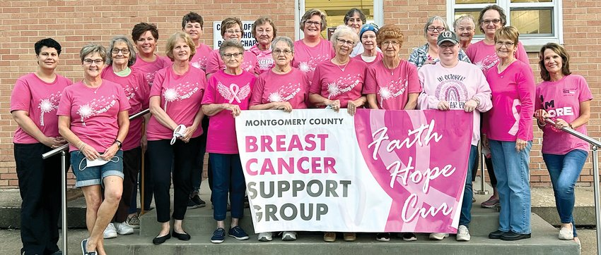 Members of the Montgomery County Breast Cancer Support Group, in front, from the left are Kim Reynolds, Tina Hagemeier, Carolyn DeWerff, Connie Pickerill, Jean Shannon, Arlene Gerdes, Marie Germann, Melinda Slightom, Ruth Leonard and Teresa Todt. In back are Jessie Chesser, Stacey Mollett, Chris Huber, Pam Myers, Joan Sester, Joyce Lipe, Denise Gregg, Kathy Dobrinic, Sandy Carron, Brenda Cobetto and Tracey White.