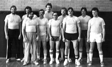 Part of the first Teachers and Creatures basketball team were front row, left to right: Ron Deabenderfer, Larry Hindle, Kent Spinner, Edwin Huber, and Paris Webb. Second row: Ted Huber, Larry Ackerman, Steve Poznic, Greg Matthews, and Mike Gonzalez. Among those not present for the picture were Terry Page, Tim Stocks, Mike Sommer, Joe Kindernay, Greg Moore, Aubrey Webb, Mark Mathews, Earl Meier, and John Conway.