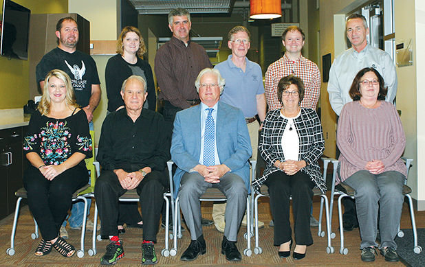 Members of the Hillsboro Area Hospital Board of Directors, front row from the left, are Vice Chair Michelle Ondrey, Chairman Dave Imler, President and CEO Rex Brown, Treasurer Patty Clarke, Secretary Julie Jenkins. Back row: Jordan Ruppert, Lindsay Wagahoff, Brian Knodle, Dr. Doug Byers, Dr. Ben Cady, Earl Flack. Not present: Greg Holcomb.