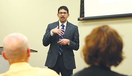 Dr. Sameer Vohra of the SIU School of Medicine explained the brain development study to members of the hospital board, HCCDC staff, and others on Thursday, April 20, at Hillsboro Area Hospital.