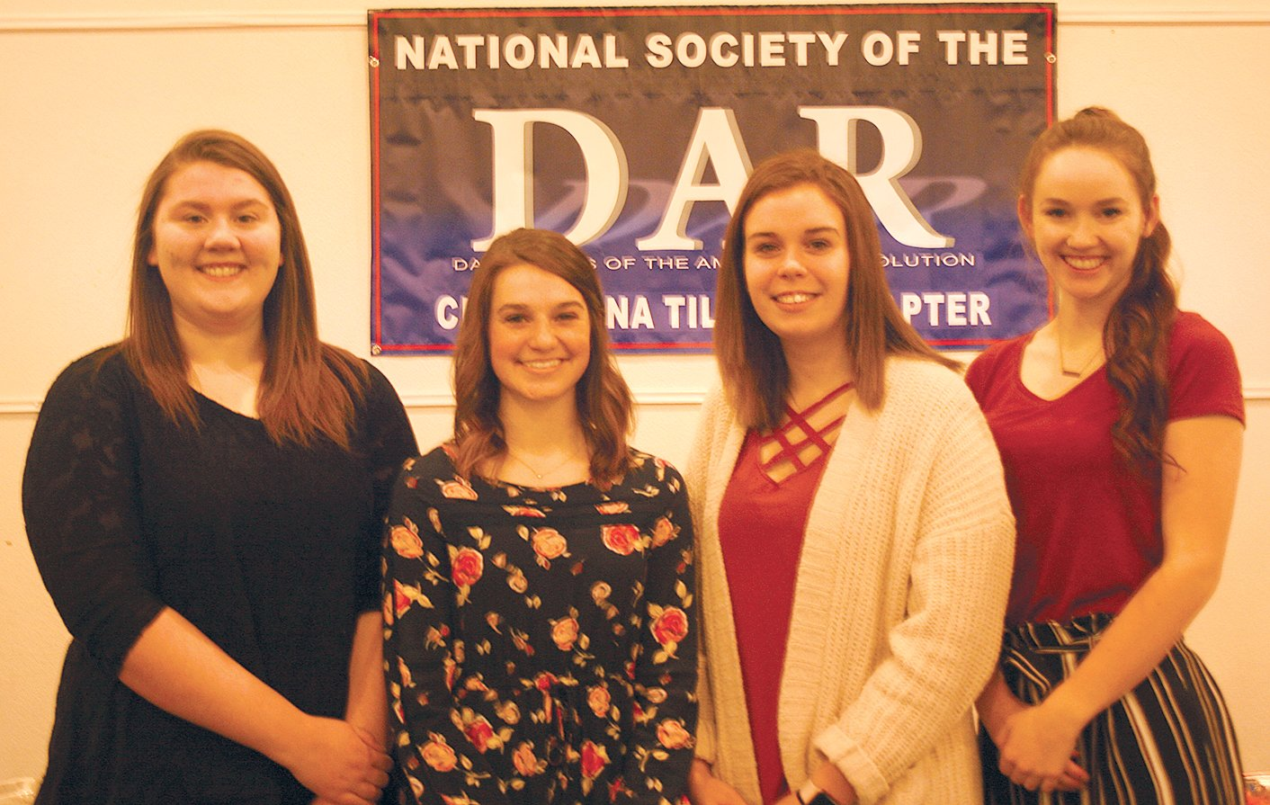 This year's DAR Good Citizen award winners were recognized by the Christiana Tillson chapter of the Daughters of the American Revolution on Saturday, March 2, at the Free Methodist Church in Hillsboro. From the left are Cambria Underwood of Farmersville, Grace Anderson of Hillsboro, Carlee Ernst of Litchfield and Lillian Gretak of Mt. Olive. Not pictured are Cody Knodle of Fillmore and Chloee Peterson of New Douglas.