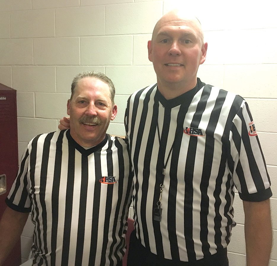 Veteran officials Carl Fesser, left, of Fillmore, and Allen Poggenpohl of Raymond will be officiating the Class 1A and Class 2A IHSA Boys Basketball State Finals on March 8-9, at Carver Arena in Peoria, marking the first time that two Montgomery County officials have worked the tournament at the same time in the event's 111 year history.