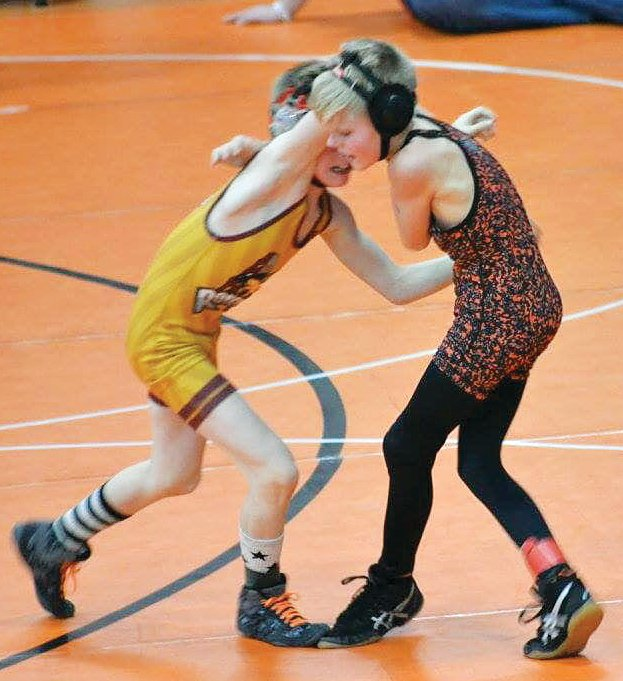 Hillsboro fifth grader Gunner Hefley made his IKWF state tournament debut on Friday, March 8, and went 1-2 at the event in Rockford.
