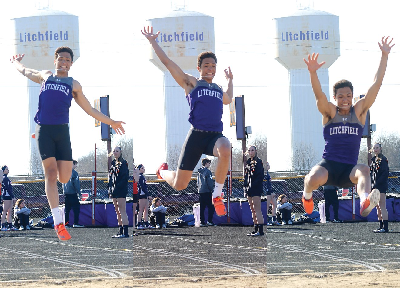"Just over an hour after signing to play basketball for Illinois Wesleyan University, Litchfield senior Sam Painter made another big leap, this time at the long jump pit during the Litchfield Relays. Painter would go 21'0.75"" for the best jump of the competition, helping the Panthers to a second place finish in the event and a fourth place finish in the team standings."
