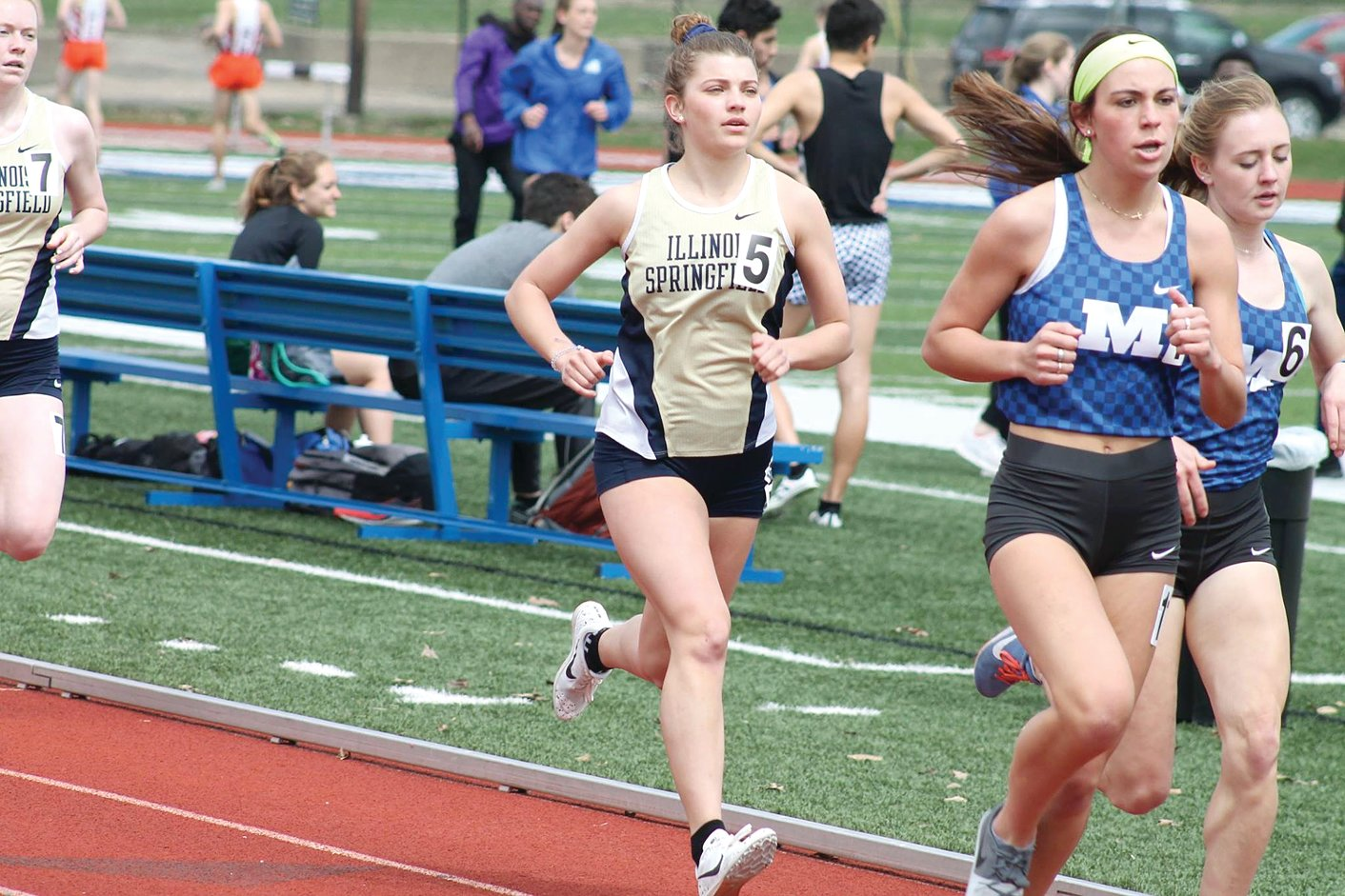 Litchfield grad Lexi Throne (#5) finished fifth in the women's 1500 meters at the Big Blue Invite in Decatur on Saturday, April 6. Throne, who runs for University of Illinois-Springfield, also competed in the Washington Invite on March 29, placing 82nd in the 5000 meter run.