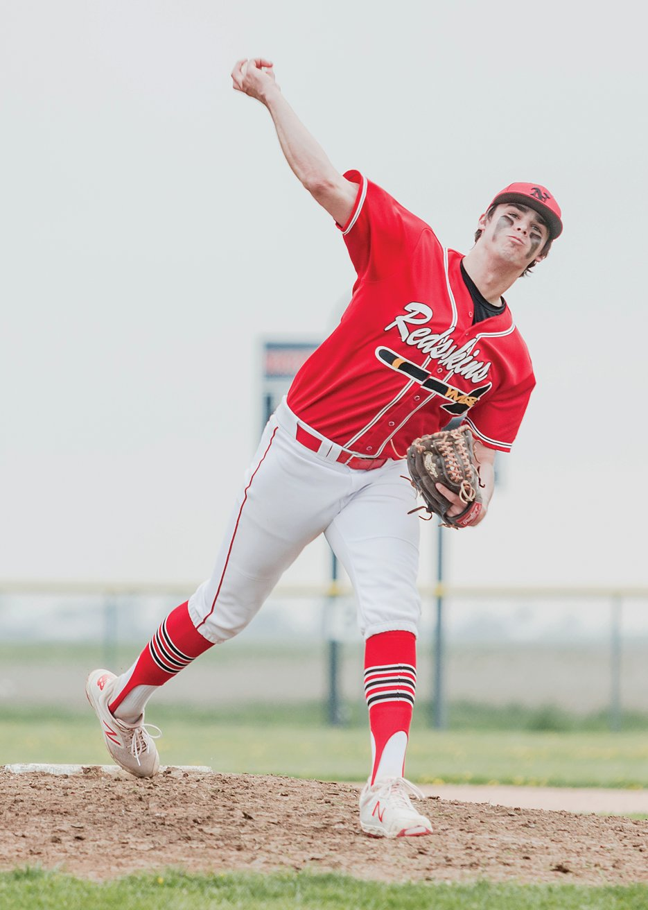 Nokomis pitcher Carter Sabol struck out 14 batters in five innings on Tuesday, April 23, as the Redskins defeated Central A&M 10-0.