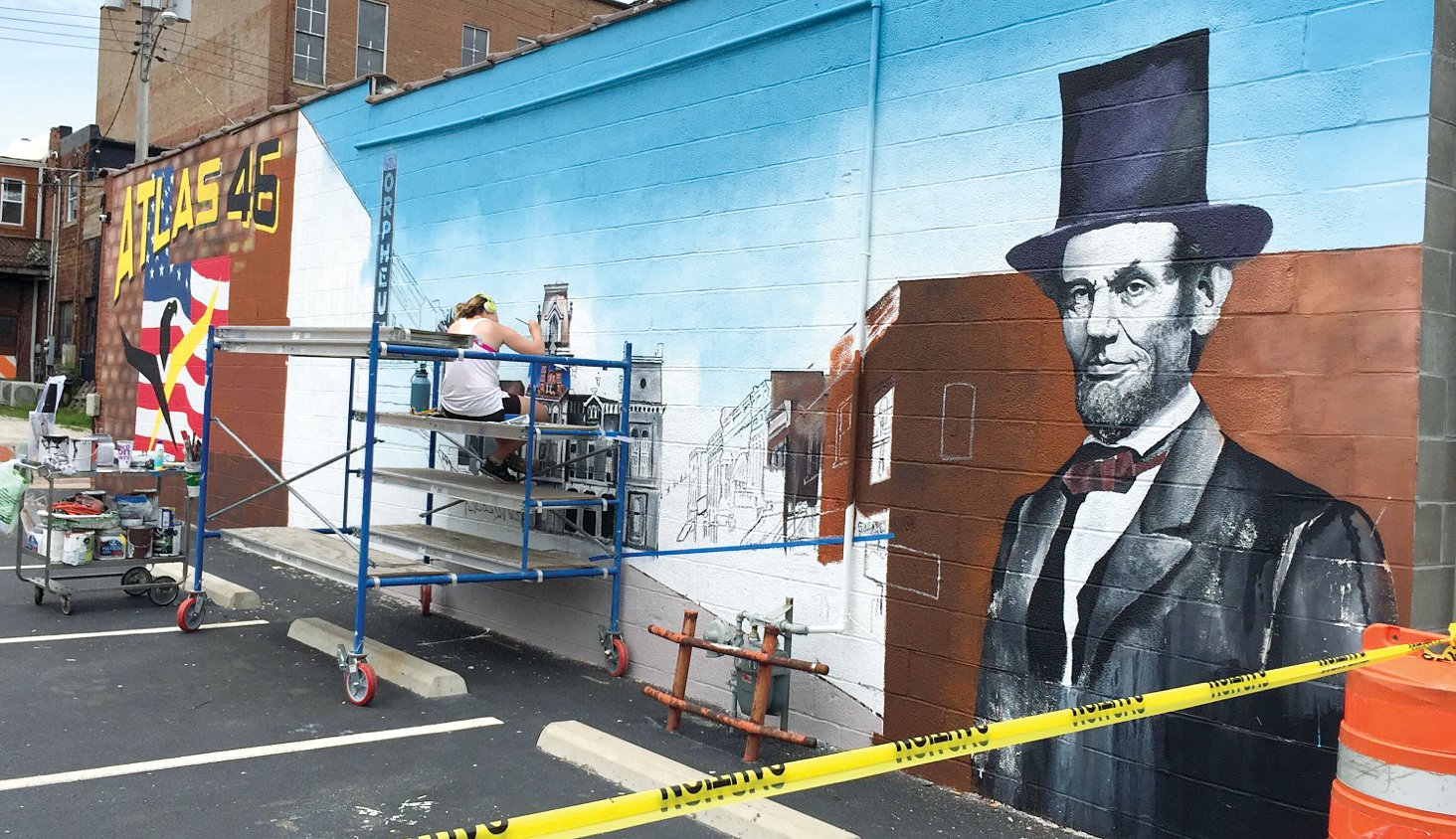 This Hillsboro-themed mural is being created by Greenville artist Maggie Anderson on the side of the Atlas 46 building in downtown Hillsboro. It will be officially unveiled on American Made Day celebration on Saturday, May 18, in downtown Hillsboro.