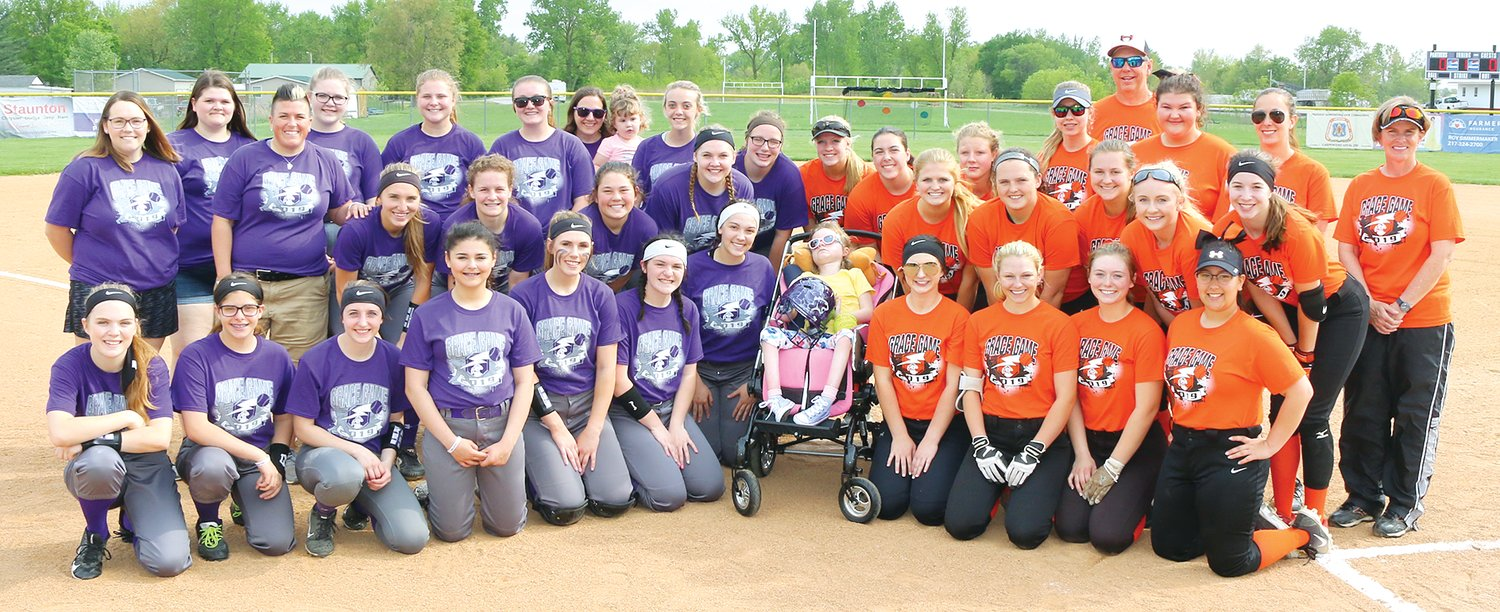 Members of the Litchfield and Hillsboro softball teams sported special T-shirts in honor of seven-year-old Grace Herschelman and her fight against INAD on Tuesday, May 7. The shirts raised money for a research study at Washington University in St. Louis that is looking for treatment options for the rare genetic disorder.