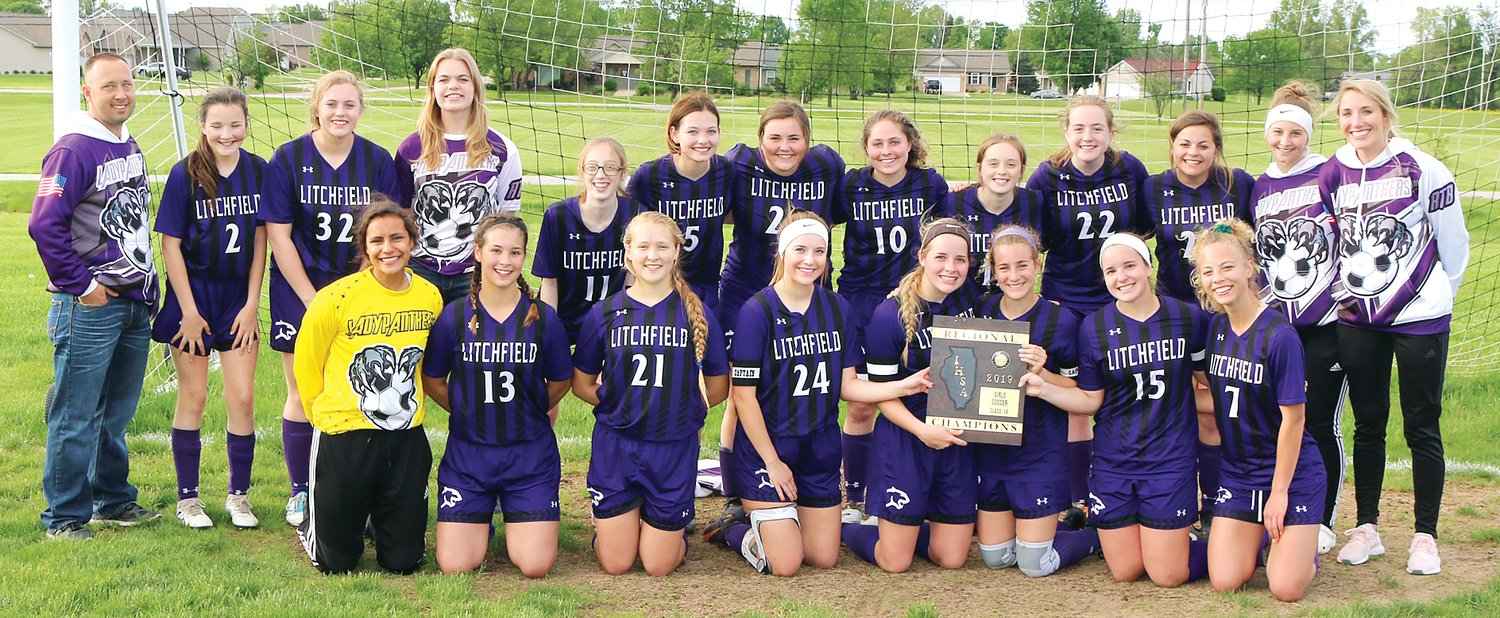 For the sixth time in seven years, the Litchfield High School girls soccer team picked up a regional championship as they defeated Auburn 2-1 on Friday, May 10, in Greenville. Team members, in front, from the left, are Becky Painter, Karly Kruse, Jordan Ramey, Greta Fleming,  Jordan Morgan, Sydney Hoehl, Devan Morgan and Izzy Ray. In the back row are Coach Chris Bates, Harley Traylor, Jenna White, Allison Marburger, Suzie Roberts, Carson Jackson, Ellen Fleming, Madison Diamond, Abby Roberts, Audrey Fischer, Aury Hartman, Laken Shade and Coach Dominque Byots.