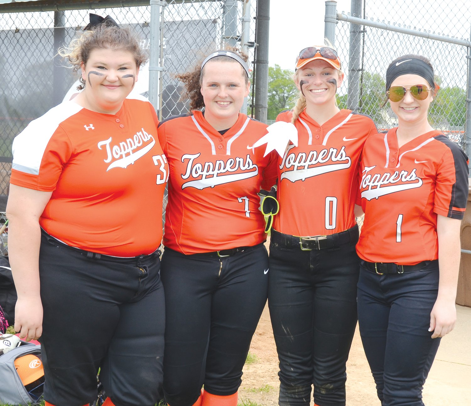 The four senior members of the Hillsboro High School softball team were honored on senior night prior to the start of the Lady Hiltoppers' 2-0 win over Southwestern that clinched the South Central Conference championship with a 9-0 record. From the left are Jaylaan Milanos, Kai Hanner, Katie Schaake and Sheridan Lyerla.