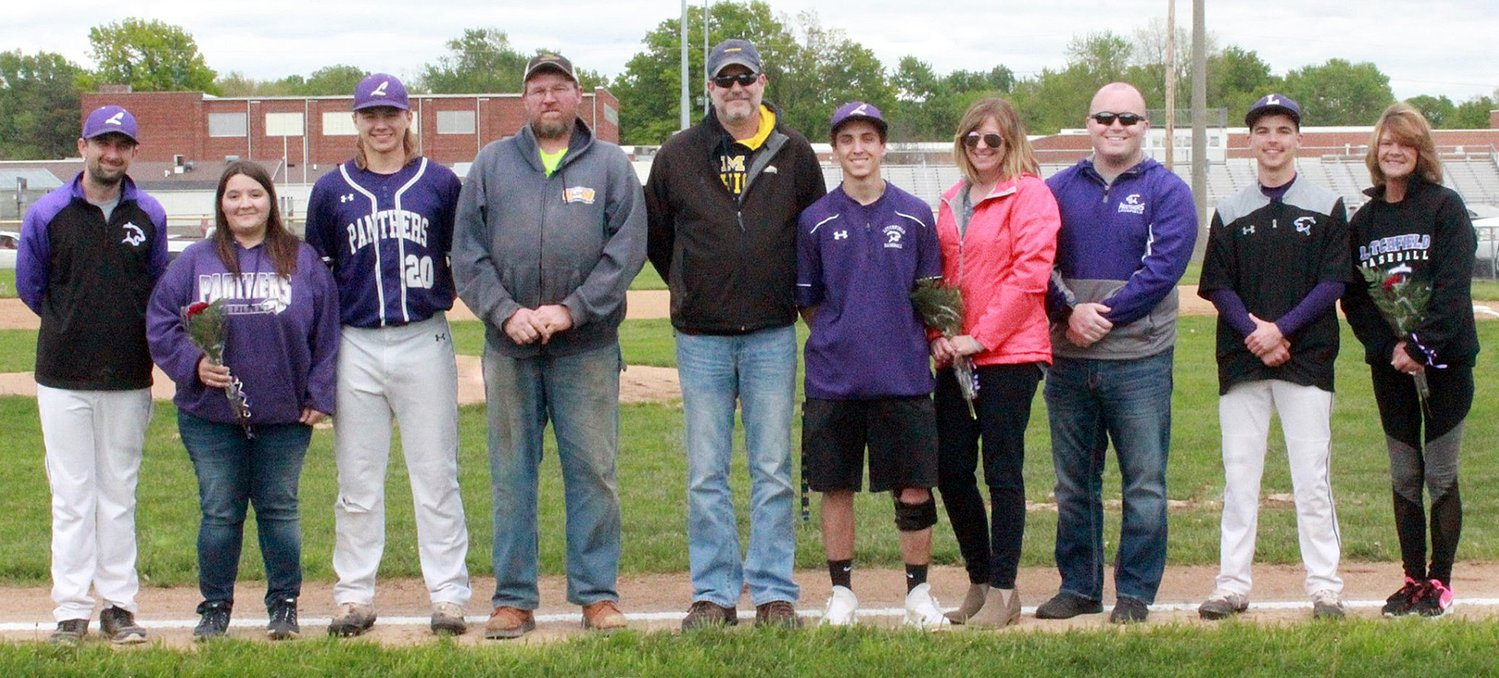 The three senior members of the Litchfield High School baseball team were honored prior to the Panthers' final home baseball game against Staunton on Friday, May 10. From the left are Head Coach Chris Headrick, Billy Beckham with parents, Cindy and Bill Beckham; Jacob Jurgena, with parents, Steve and Rhonda Jurgena; and Jeremy Frazier with Michael Claussen and mother, Amy Frazier.