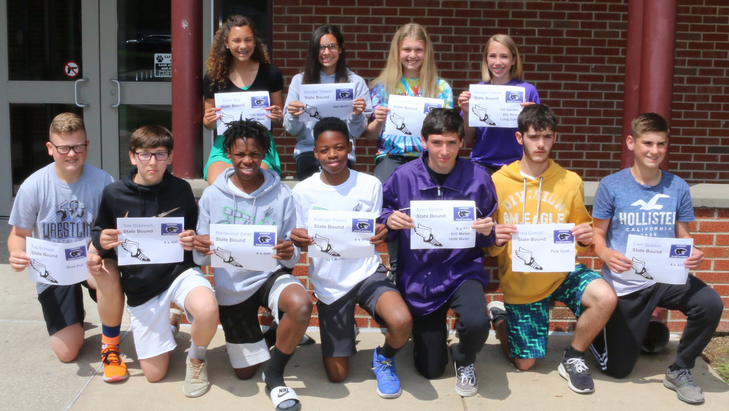 Eleven members of the Litchfield Middle School track team will be making the trip to the IESA Class AA State Finals on May 17-18 after qualifying for this year's event at the sectional in Edwardsville on May 13. State qualifiers, in front, from the left, are Tug Schwab, Tate Dobrinich, Martavious Jones, Kennan Powell, Ayvin Bunton, Paul Cowgill and Cam Quarton. In the back are Sofia Ray, Kendall Stewart, Annika Rhodes and Morgan Lemon.