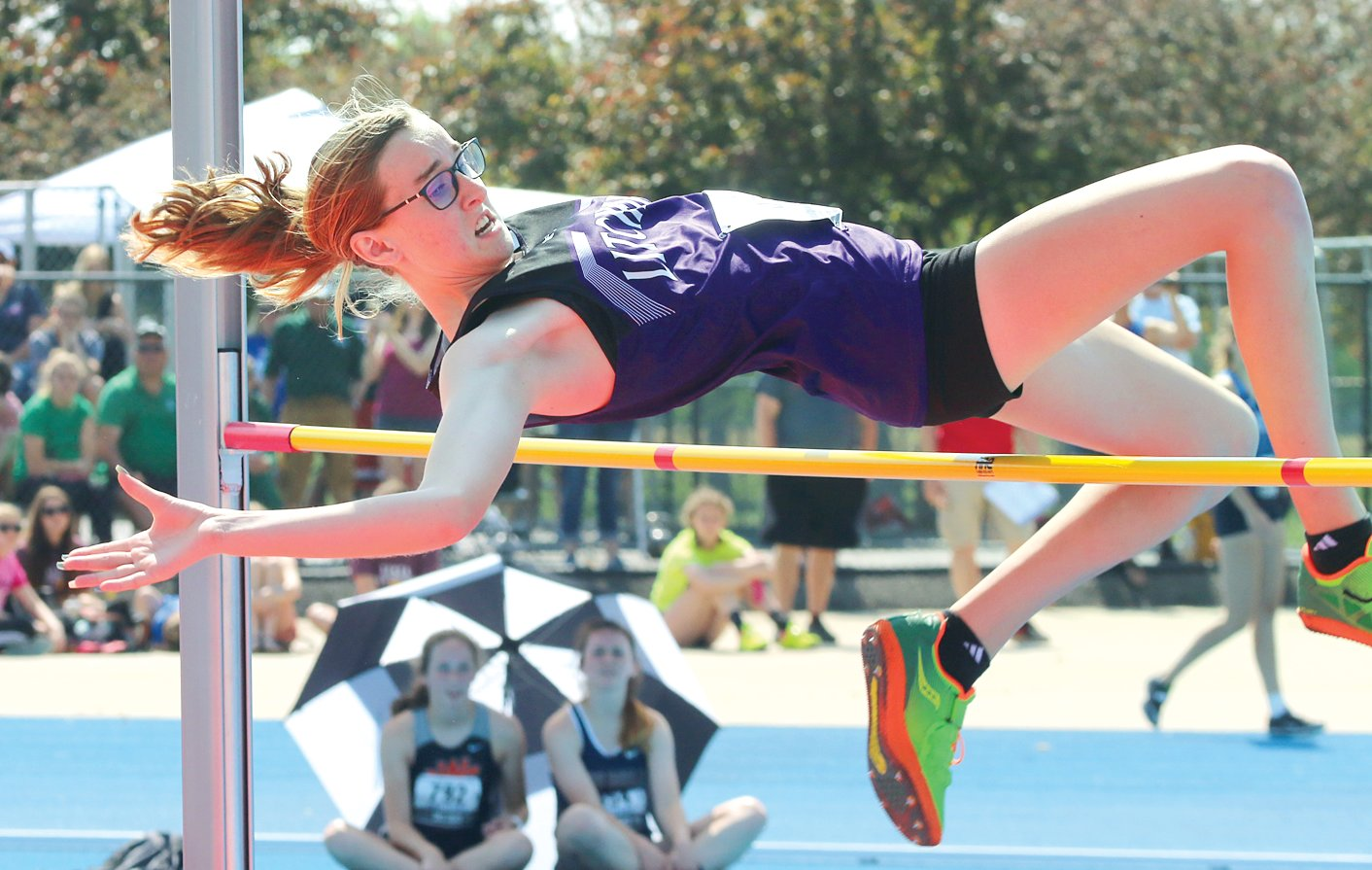 "Litchfield freshman Carly Guinn cleared 4'11"" at the IHSA State prelims on Thursday, May 16, and narrowly missed advancing to the finals."