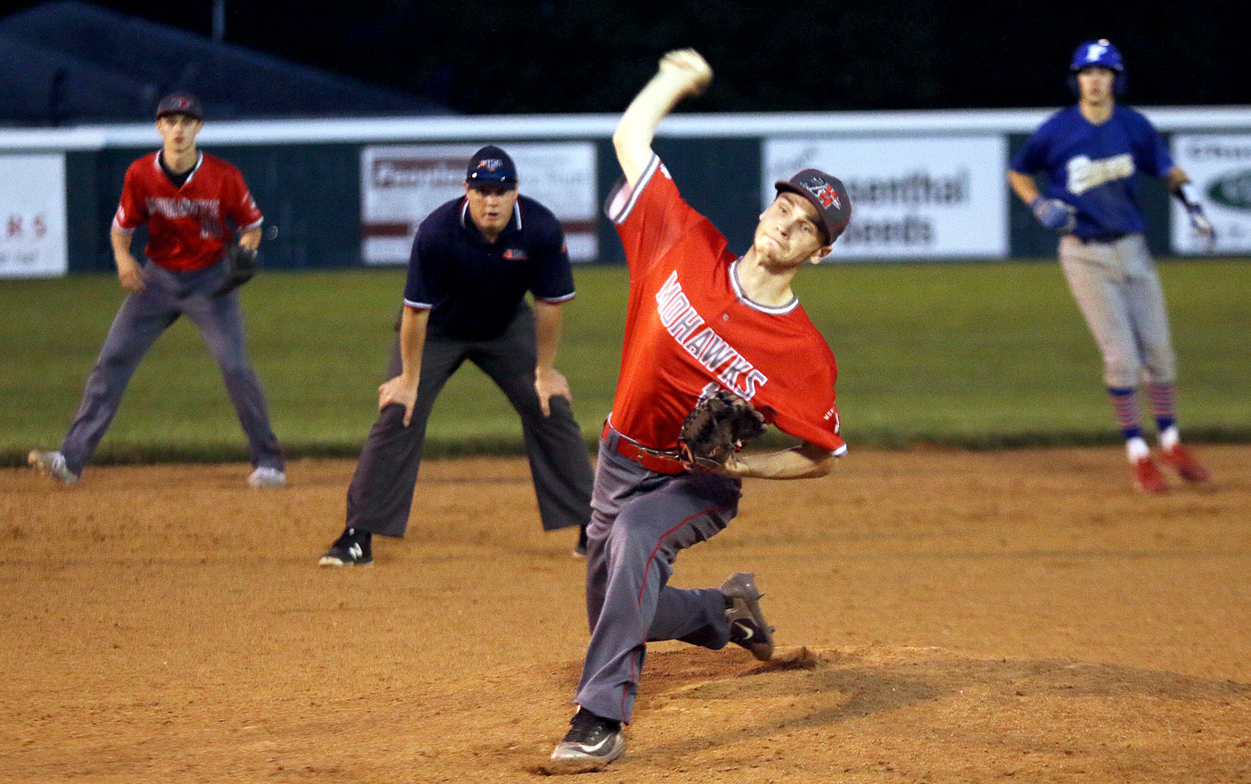 Morrisonville's Kyle Bloome makes his delivery toward home plate during the Mohawks' regional game against Pawnee on Thursday, May 16. Pawnee would go on to beat the Mohawks 8-1, ending Morrisonville's season with a record of 7-19.