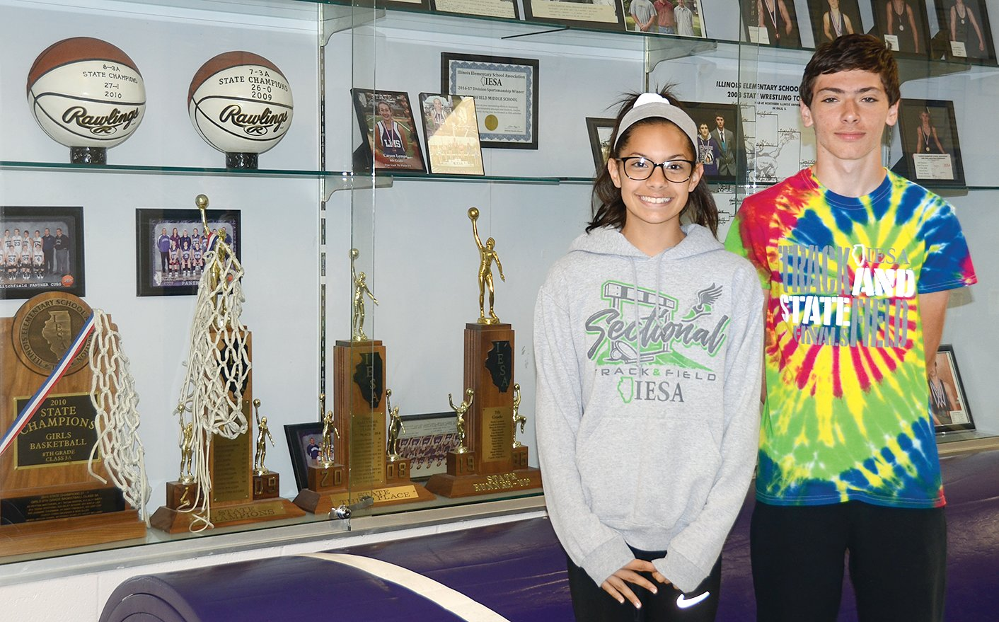 Litchfield Middle School has to make more room in its trophy case after two Panthers brought home medals from the IESA State Track Meet, held in East Peoria on May 17-18. Kendall Stewart placed eighth in the seventh grade girls 400 meters with a time of 1:02, while Ayvin Bunton placed fifth in the seventh grade boys 800 with a time of 2:14.