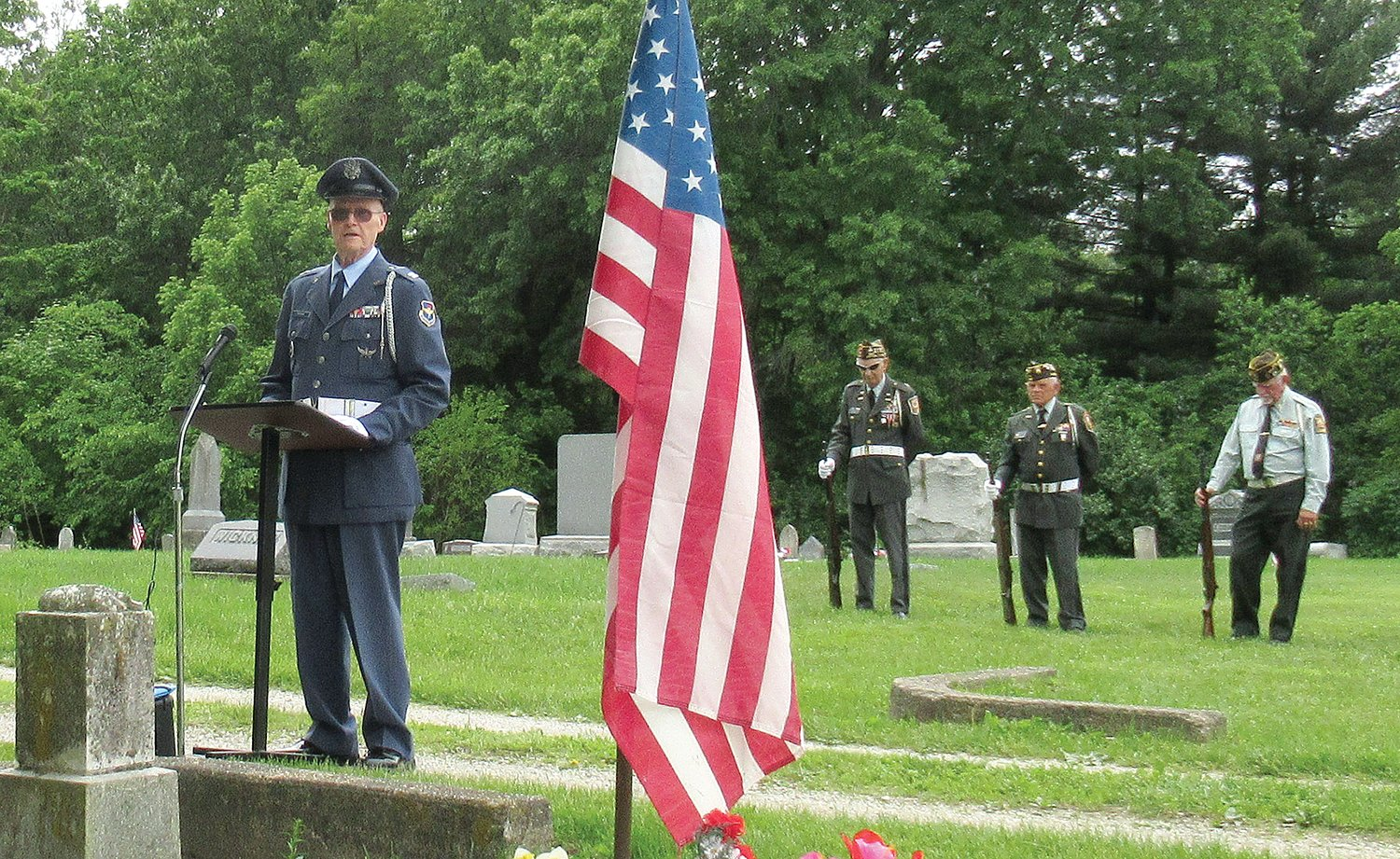 Bob Fuenhe, USAF retired, gave the Memorial Day address at Irving Sunday, followed by a rifle salute and Taps from the Joint Armed Forces Honor Guard, including Lee Cerny, Dale Walcher, Ken Marsh and Jim Palmer.