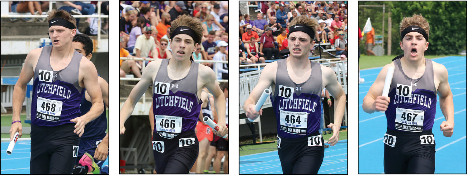 The Litchfield High School 4x800 team, from the left, of Austin Niehaus, Cameron Crow, Damon Burdell and Alex Fischer beat their sectional time by half a second at the IHSA Class 1A State Finals at O'Brien Stadium on the campus of Eastern Illinois University on Thursday, May 23. The trip to state was a fitting end to the careers of Burdell and Fischer, who were co-valedictorians at the LHS graduation ceremony the following night, and an experience builder for Niehaus and Crow, who will be among the top returnees on next year's team.