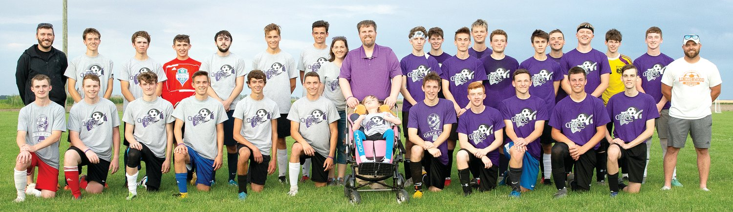 In front, from the left, are Devan Martincic (Riverton/Tri-City), Adin Fleischer (Carlinville), Tanner Jacobs (Pana), Matthew Schmidt (Carlinville), Isaiah Atkins (Hillsboro), Carson Rantanen (Staunton), Grace Herschelman, Nathan Bailey (FBCA/MAPS), Brenden Applegate (Lincolnwood/Nokomis), David Haage (Riverton/Tri-City), Cody Knodle (Lincolnwood/Nokomis) and Tyler Blentlinger (Williamsville). In the back are Gray Coach Jason Burke (Hillsboro), Eli Atkins (Hillsboro), Clayton Compton (Pana), Andrew DeNeve (Carlinville), Trey Gall (Carlinville), Noah Birk (Staunton), Travis Osborn (Carlinville), Mary and Kyle Herschelman, Justin Bounds (North Mac), Dylan Klunk (Roxana), Marshal Creasy (North Mac), Lucas Petersen (Springfield Lutheran), Angelo Collado (Taylorville), Justin Thorson (Riverton/Tri-City), Parker Short (FBCA/MAPS), Drew Johnson (Lincolnwood/Nokomis), Dawson Klunk (Roxana), Layne Johnson (Lincolnwood/Nokomis) and Purple Coach Ryan Webb (Lincolnwood).