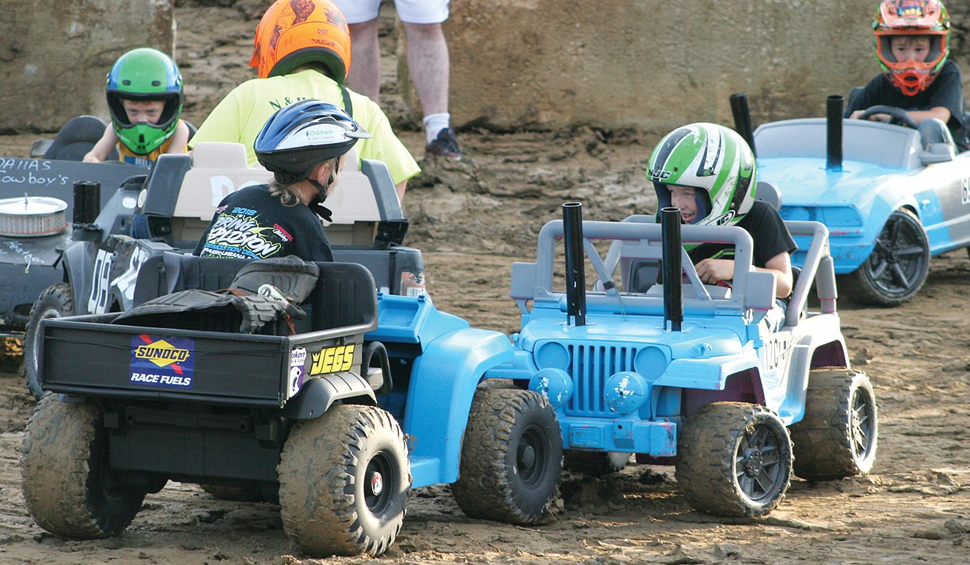 Not much damage was done, but there were a lot of smiles on a lot of young faces during the power wheels derby that preceded the lawn tractor and car demolition derby at the Montgomery County Fair on Saturday, June 22.