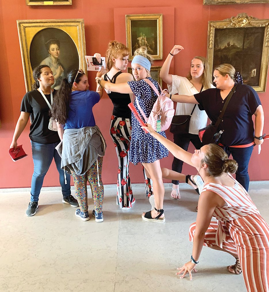 The priceless works of art at the Louvre provided some priceless moments for the Litchfield travelers as they competed to create the most accurate imitation. Above is the winning group, as judged by the group's tour director, with their adaptation of the painting in the center.