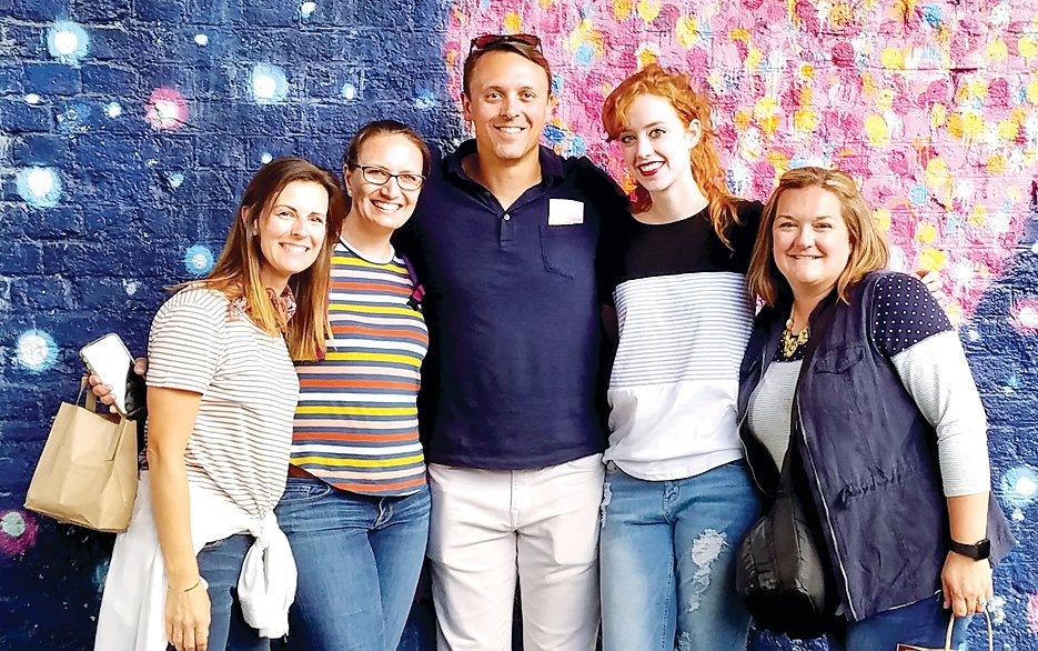 "Taking on the task of guiding 20 high school students on the tour of Europe were, from the left, Caitlin Magnuson, Karen Cress, Shane Cress, Paige Farnworth and Amanda Lamore, aka ""The Dream Team."""