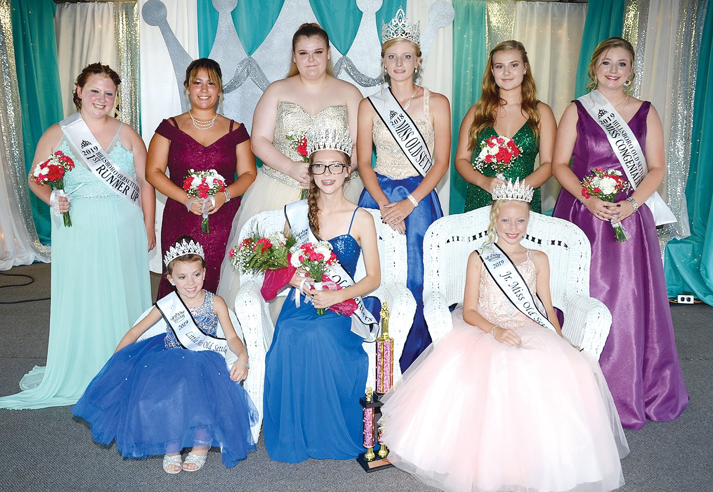 Members of this year's Old Settlers Queen court, in front, from the left are 2019 Little Miss Old Settlers Adalynn Hollo, 2019 Old Settlers Queen and Miss Photogenic Caitlyn Howard and 2019 Junior Miss Old Settlers Lucy Moxey. In back are first runner-up Brianna Stephens, Erin Moore, Josie Havens, retiring 2018 Old Settlers Queen Kelly Jansen, Malorie Scurlock and Miss Congeniality Morgan Schaake.