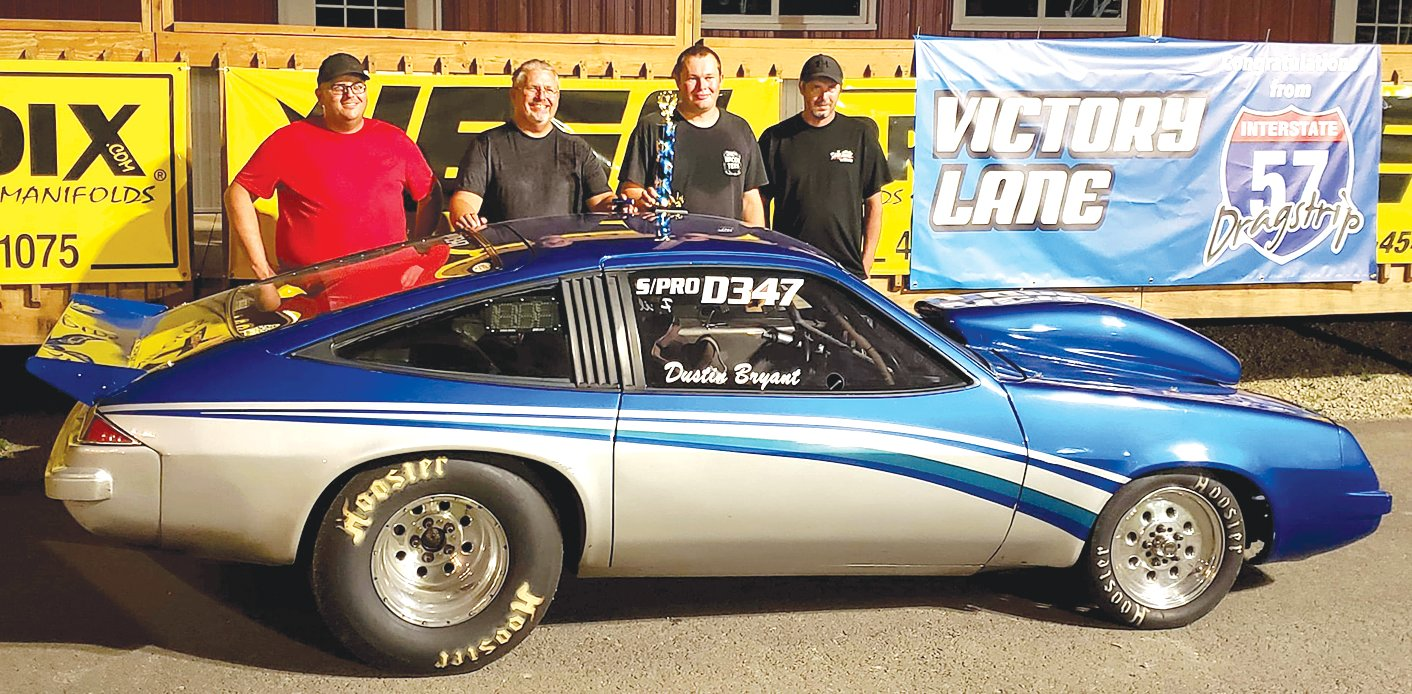 For the third week in a row at I-57 Dragstrip in Benton, Litchfield's Dustin Bryant found himself in victory lane on Saturday, Aug. 10. After winning the footbrake division on July 27, Bryant has been in the winner's circle twice in August in the pro class. From the left are Corey Wood, Phil Bryant, Dustin Bryant and Scott Pinkerton.