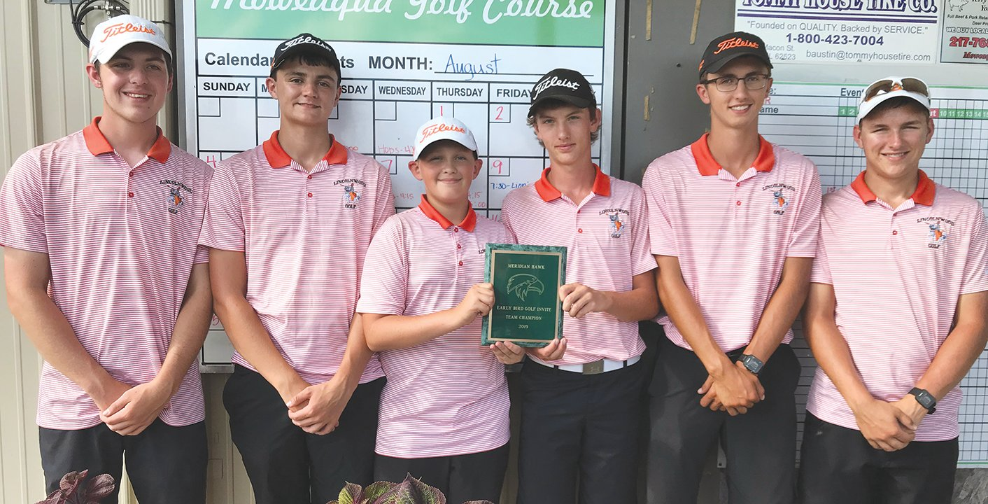 The champions, from the left Devin Brown, Michael Jones, Nate Brockmeyer, Braxton Schmedeke, medalist Sam Herman and Will Jenkins.