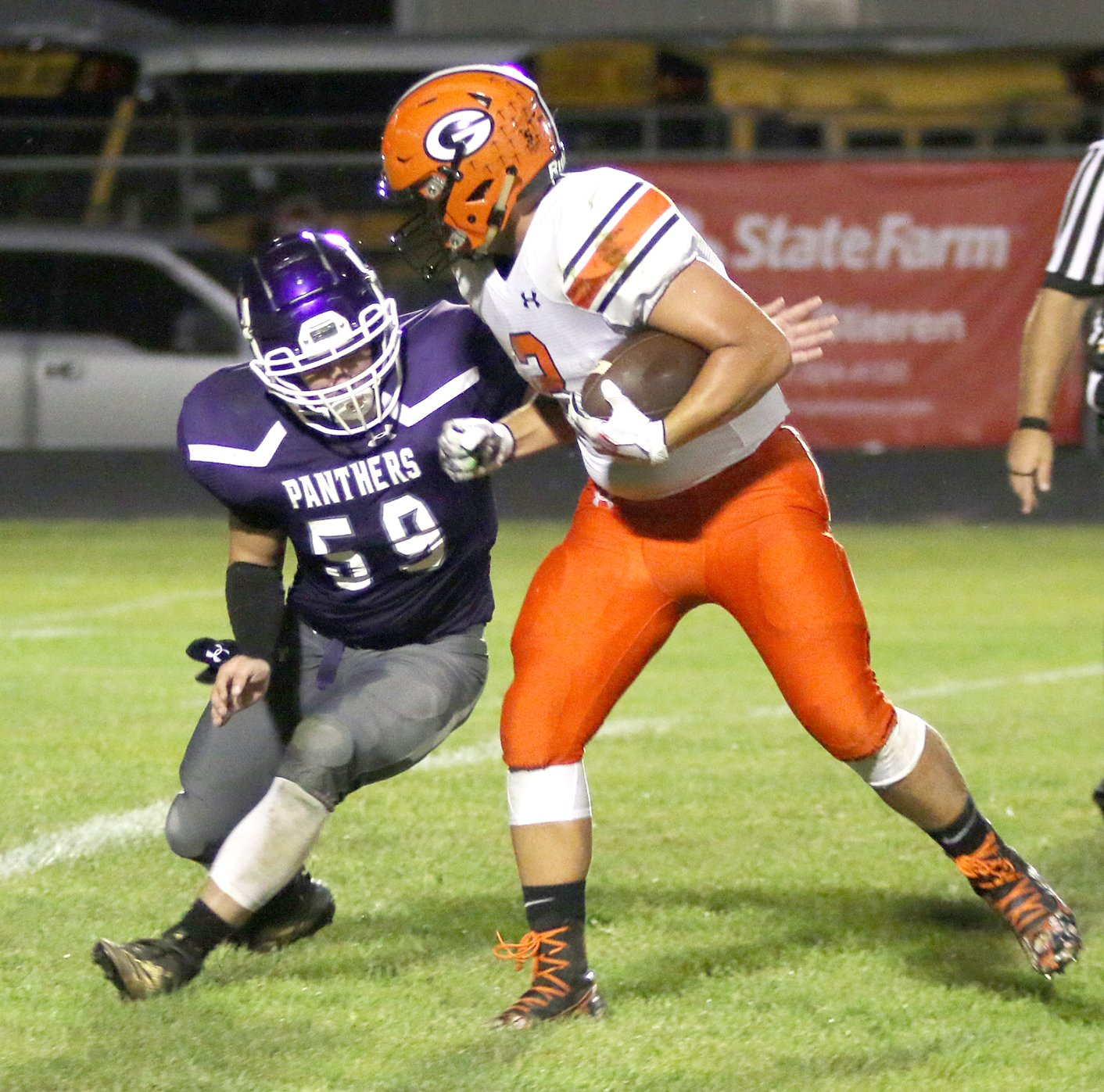 Litchfield's Dylan Maxwell tracks down Gillespie ball carrier Daniel Bertolino during the week two clash in Litchfield on Friday, Sept. 6. Maxwell led the Panthers in tackles with ten in a game that saw the Miners come away with a 49-6 victory following a strong second half.
