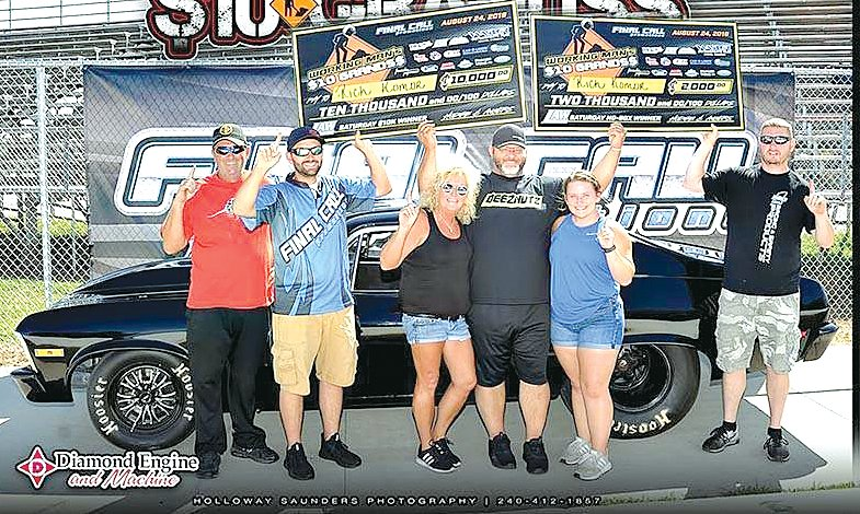 Litchfield racer Rich Komor won both the box and no box divisions at the inaugural Working Man's $10 Grands at Wagler Motorsports Park in Lyons, IN on Aug. 24. From the left are Rob Fisher, Jake Hodge, Barb, Rich and Brooke Komor and Lucas Walker.