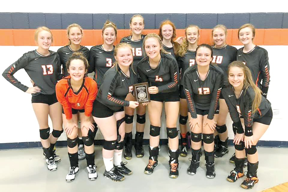 Members of the Lincolnwood volleyball team pose with their third place trophy from the Ray Long Volleyball Classic in New Berlin on Saturday, Sept. 21. In front, from the left, are Lexie Millburg, Kyra Shull, Madison Krager, Emme Weller and Jasmine Vickery. In the back are Haelee Damm, Maggie McClelland, Cassie Krager, Katelyn Payne, Sidney Glick, Avery Pope, Marisa Webb and Jayden Kuchar.