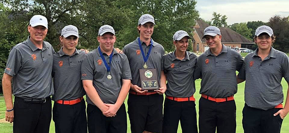 It was a good weekend for the Hillsboro boys golf team as the Hiltoppers took home the Dick Gerber Invitational title on Friday, Sept. 27, then won a best ball tournament at Fox Creek on Saturday, Sept. 28. From the left are Coach Jeff Eickhoff, Alex White, Owen Malloy, Alex Eickhoff, Dane Huber, Wilson Hamby and Gunnar Micnheimer.