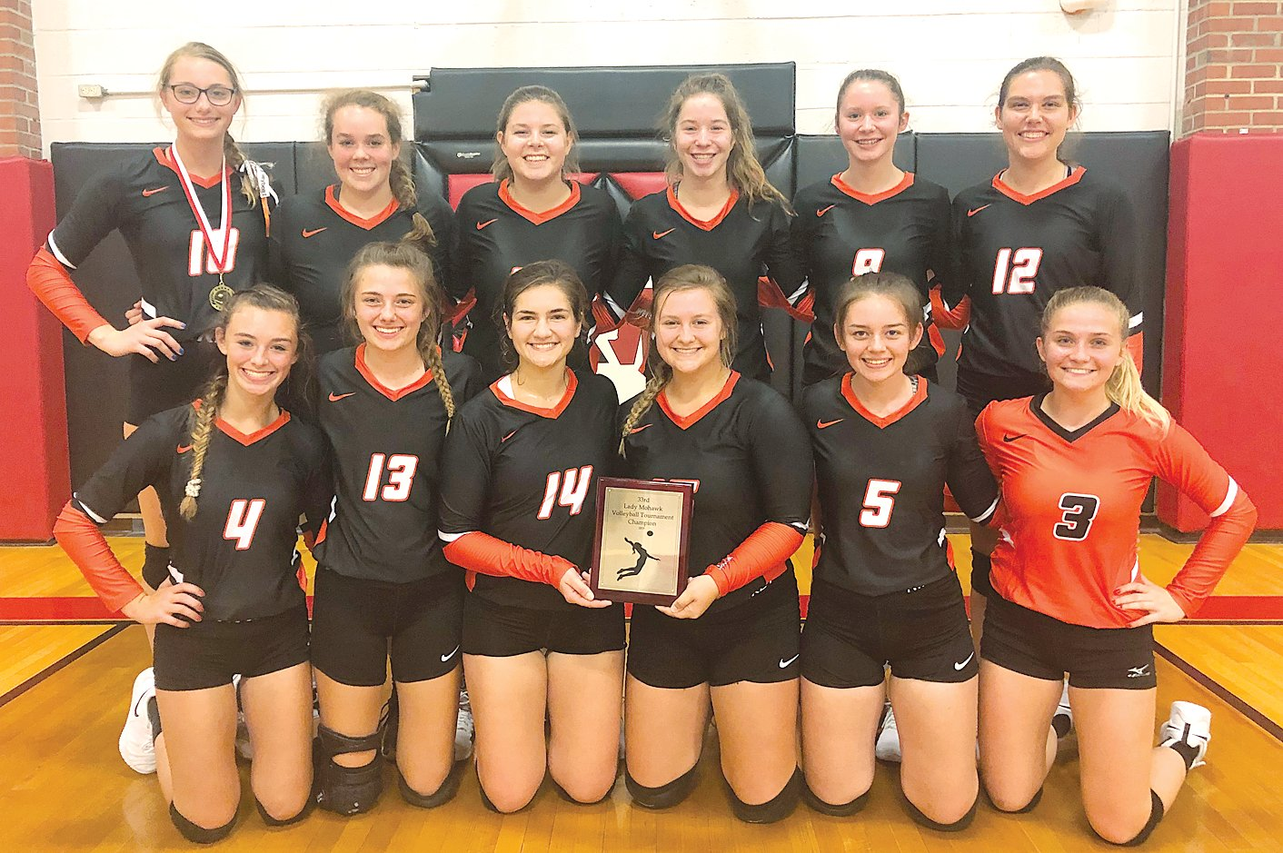 The Hillsboro volleyball team's eighth straight win gave them the title in the Morrisonville Tournament on Saturday, Oct. 5, as they defeated the Taylorville JV squad 25-11, 25-14. In front, from the left, are Jordan Jacobs, Kayli Ward, Emily Reynolds, Chloe Beck, Rylee Schmollinger and Ally Devore. In the back row are Kaci Papin (who earned all-tournament honors), Maria Hernandez, Reagan DeVaisher, Haley Major, Paige Roemelin and Emma Miller.