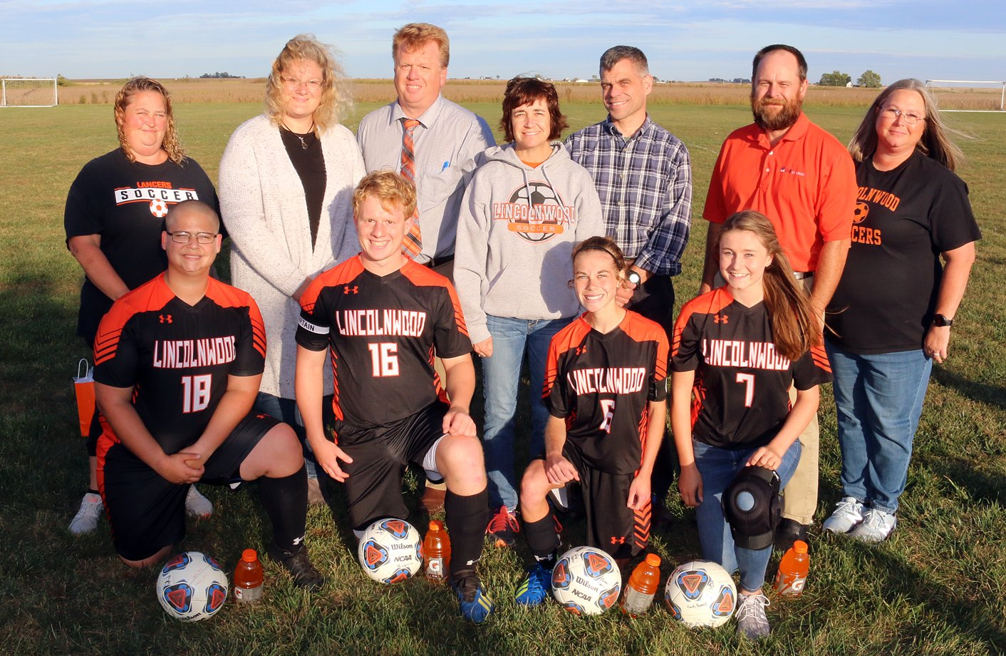 The Lincolnwood High School soccer team, who co-ops with Morrisonville, Nokomis and Pawnee, held its senior night festivities on Thursday, Oct. 3, before their 2-0 win over Greenville at Terry Todt Field in Raymond. From the left are Richard Tego, with mother Veronica Morris; Evan Hopper, with parents Aaron and Kim Hopper; Natalia Cina, with parents Rick and Lynn Cina; and Cassie Bradbury, with parents Lance and Amy Bradbury.