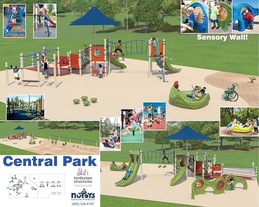 This proposed artist's rendering shows updates to Central Park in Hillsboro, providing new and updated playground equipment in a sensory-friendly environment. Volunteers kicked off fundraising efforts for the new project at the Imagine Hillsboro European-Style Harvest Market on Oct. 5.